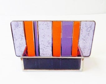 Interior Design Modern Stained Glass Desk Accessories Contemporary Business Card Holder Clemson Colors Purple Orange Office Decor