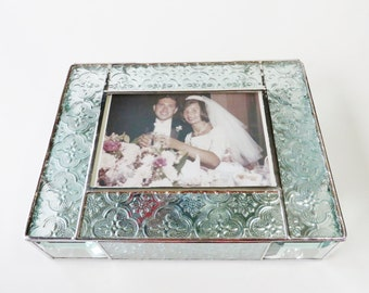 Stained Glass Keepsake Memory Box 50th Wedding Anniversary Gold Family Picture Handmade Made-to-Order