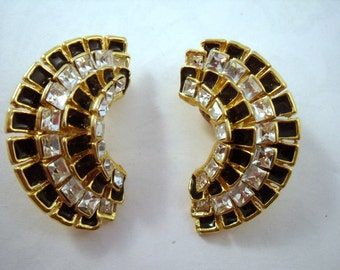 Vintage sparkling half circle clip earrings- party earrings- eighties