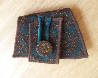 Blue and Gold Dots - Fabric Cuff Bracelet - Festival Fashion