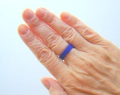 Skinny Bead Ring in Cobalt Blue // Minimalist Seed Bead Ring // Narrow Band Peyote Beadwoven Ring // Unisex Ring for Men or Women Pinky Ring