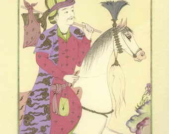 Persian painting-Purple rider/ art print/oriental painting