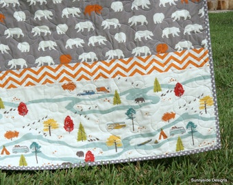 Organic Baby Boy Quilt, Bear Woodland Animals, Camping Fishing Hiking, Outdoor Forest Nature Scene, Birch Feather River Grey Gray Orange