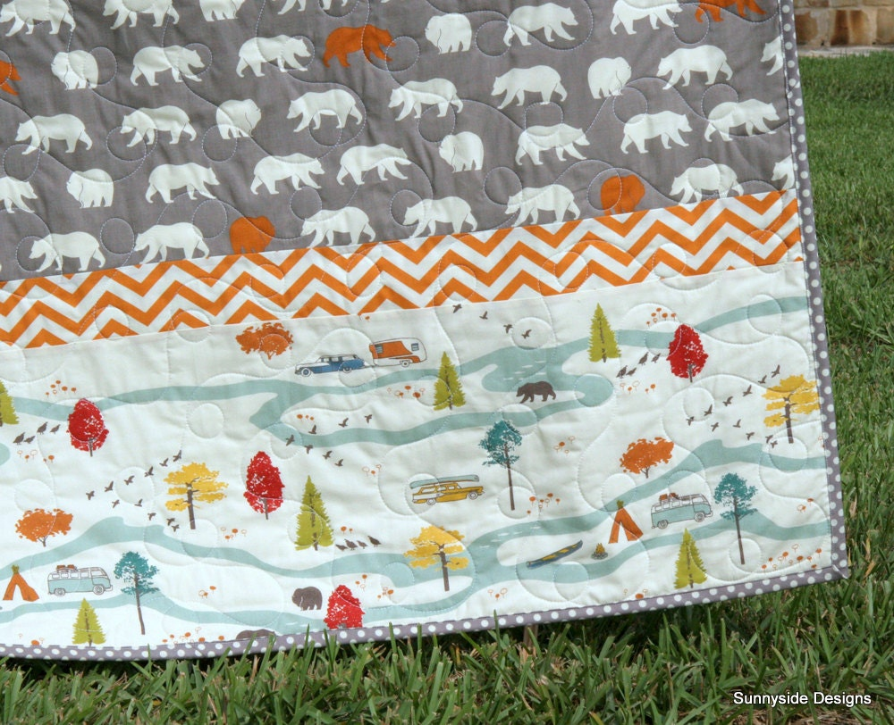 Last One Organic Baby Boy Quilt Bear Woodland Animals Camping
