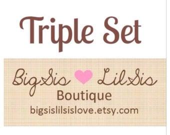 Triple Set - 3 Bibdanas - Bandana Bibs - Reversible, Baby/Toddler Bib, Cotton Fabric, your choice