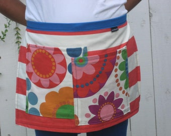 Big flowers and striped half apron, heavy canvas, 2 large pockets,.