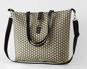 LARGE, Waterproof jacquard,  beige polka dot tote / diaper bag / shoulder bag with detachable strap  Design by BagyBags