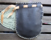 Drawstring Leather Coin Purse / Pouch / Dice Bag - Black - Hand Sewn - Medieval/Fantasy/Renaissance/Pirate/SCA/Steampunk