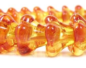 Czech  Glass Beads, 11 X 13mm, Fire Opal Bell Flower , Qty: 10