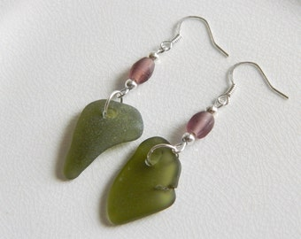 Sterling Sea Glass Earrings - Olive Green Genuine Seaglass Jewelry - Frosted Purple Recycled Glass Beads