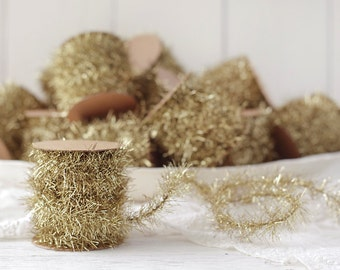 Tinsel Garland - Gold Vintage Style Christmas Trim, 12 Foot Spool