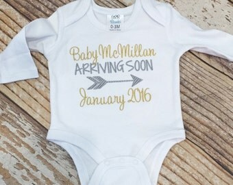 Pregnancy announcement shirt, body suit, outfit, baby coming, personalized, embroidered