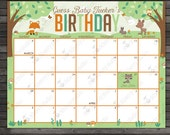 Woodland Baby Shower Guess the Due Date Calendar Printable - Birthday Prediction Calendar - Baby Shower Game