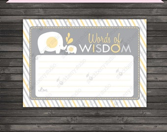 Elephant Baby Shower Words Of Wisdom Printable - Gray Yellow Baby Shower Games - Instant Download - Neutral Baby Shower Advice Cards