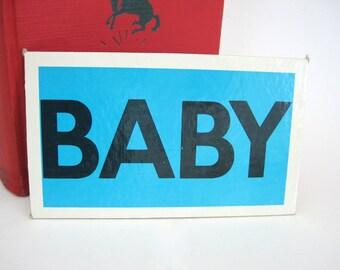 Vintage JUG Picture Word BABY Tile Flash Cards Craft Art Supply Childrens Shelf Decor