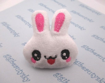 Puffy fabric bunny rabbit appliques 46mmX48mm 1pc