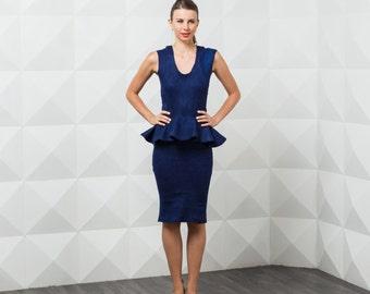 Navy Wedding Dress, Peplum Dress, Felted Dress, Short Bridesmaid Dress, Tight Dress, Suit Dress, Autumn Dress, Blue Formal Dress, Navy Dress