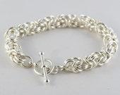 Byzantine Bracelet, Argentium Sterling Silver,  Large with toggle or lobster clasp, Mother's bracelet,  Custom made