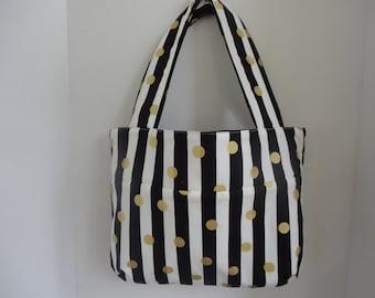 Black Stripes Tote  Bag -Teacher  Tote -  Custom Made - Handmade Project Bag Monogrammed Gold