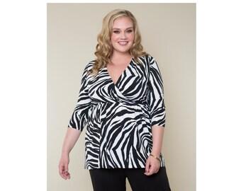 Empire Waist Surplice Tunic Zebra Matte Jersey Customizable Misses & Plus Sizes 2-28
