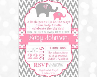 Elephant Baby Shower Invitation - Baby Girl Shower Invitation Grey Pink Little Peanut Chevron Invite DIY Printable Invite PDF (Item #175)