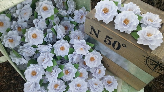 Paper Flowers - Place Cards - Table Decorations - White Wedding Flowers   - Made to Order - Set of 50