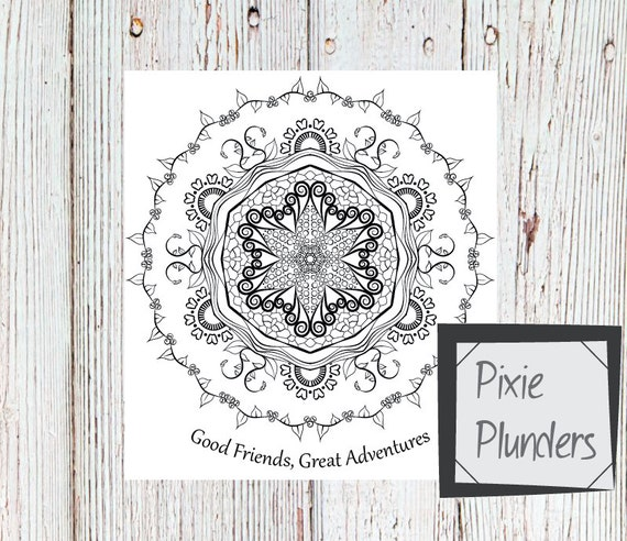 Mandala Colouring Card - Friends & Adventures - INSTANT DOWNLOAD