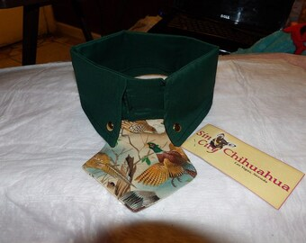 Large size - Shirt collar in deep green with colorful Pheasat print neck tie for dogs - D48F