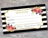Raffle Card - Prize Entry Ticket - WIN  Form - Printable - Digital - Black White Stripe - Instant Download