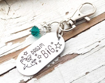 Hand stamped DREAM BIG shop exclusive flying pig stamp grsduation motivational inspirational keychain swivel lobster clasp