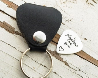 Hand stamped handstamped I plucking love you guitar pick keychain holder plectrum case heart shop exclusive custom font