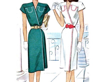 Vintage 1940s Wrap Dress Pattern Uncut Bust 36 Size 18 McCalls 6756