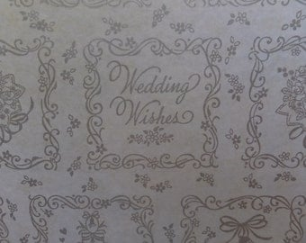 Vintage Wedding Wishes Cake Bride Bouquet Bridal Shower Gift Wrap Wrapping Paper