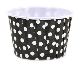 Black and white polka dot baking (24 candy, ice cream. treat, portion, cupcake cups