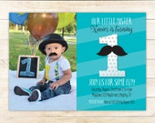 Little Mister -  First Birthday Party Printable Photo Invitation - Mustache Invite - Any Color