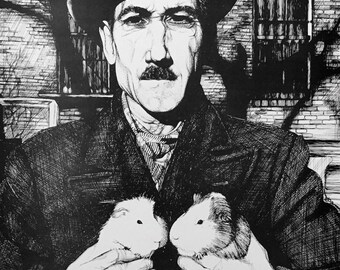 Man with Two Guinea Pigs New York 1920s digital print