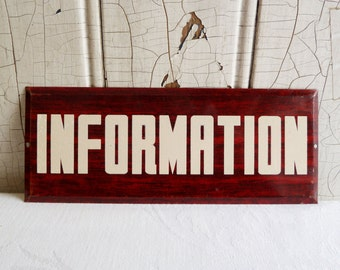 Vintage Red Woodgrained Metal Information Sign with White Reflective Writing - Industrial Chic - Home or Office