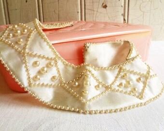 Vintage Pearl Collar - Pearls on Satin - Diamond Pattern - Made in Japan - Mid-Century 1950s