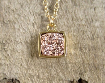 Rose Gold Druzy Necklace Square Titanium Druzy Quartz Bezel Set