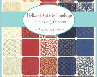 """Moda Polka Dots Paisleys Charm Pack, (42) 5"""" Quilt Fabric Squares by Minick and Simpson"""