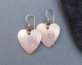 Hammered Bronze Heart Earrings Textured Bronze Dangle Earrings Modern Metal Jewelry Eighth 8th Bronze Anniversary