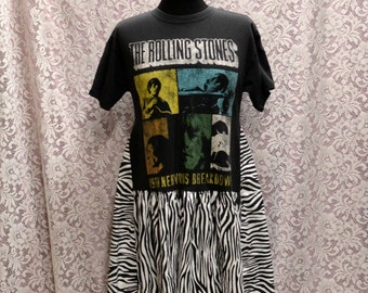 Upcycled Flying Trapeze Style Rock N Roll Rolling Stones Zebra Stripe Plus Dress Tunic