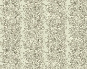 "Parson Gray - Coral Reef in Bone Cotton Fabric, Curious Nature, Remnant 17"" l x 44"" w"