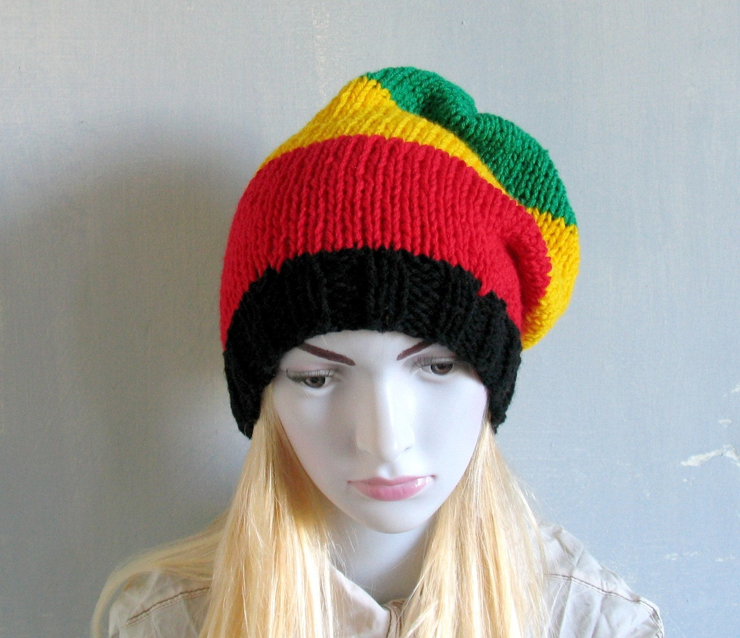 Slouchy Beanie Hat Rasta Black Red Yellow Green Knit Hat