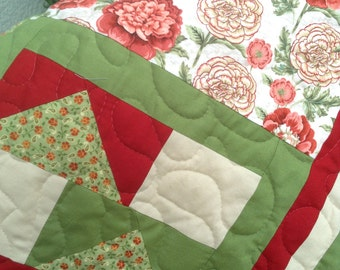 """Southern Floral - Lap Quilt - - 54"""" x 74.5"""" - Contemporary/Modern Quilt  - Ready to Ship"""