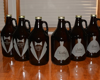 6 Pack of Personalized Amber Growlers 64 Oz for Wedding Party