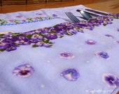 Purple Pansies Roll Up Placemat Set