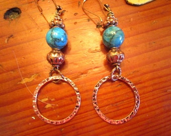 Great OOAK Genuine Marbled TURQUOISE and Hammered COPPER Dangle/Drop Pierced Handmade Vintage Earrings
