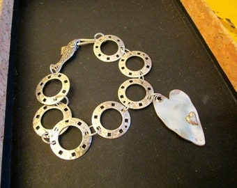 OOAK STERLING Silver & Silver Plate Artisan Hammered, Pierced Circle Link Handmade Charm Bracelet w/Dangling Double HEART Charm w/Fish Clasp
