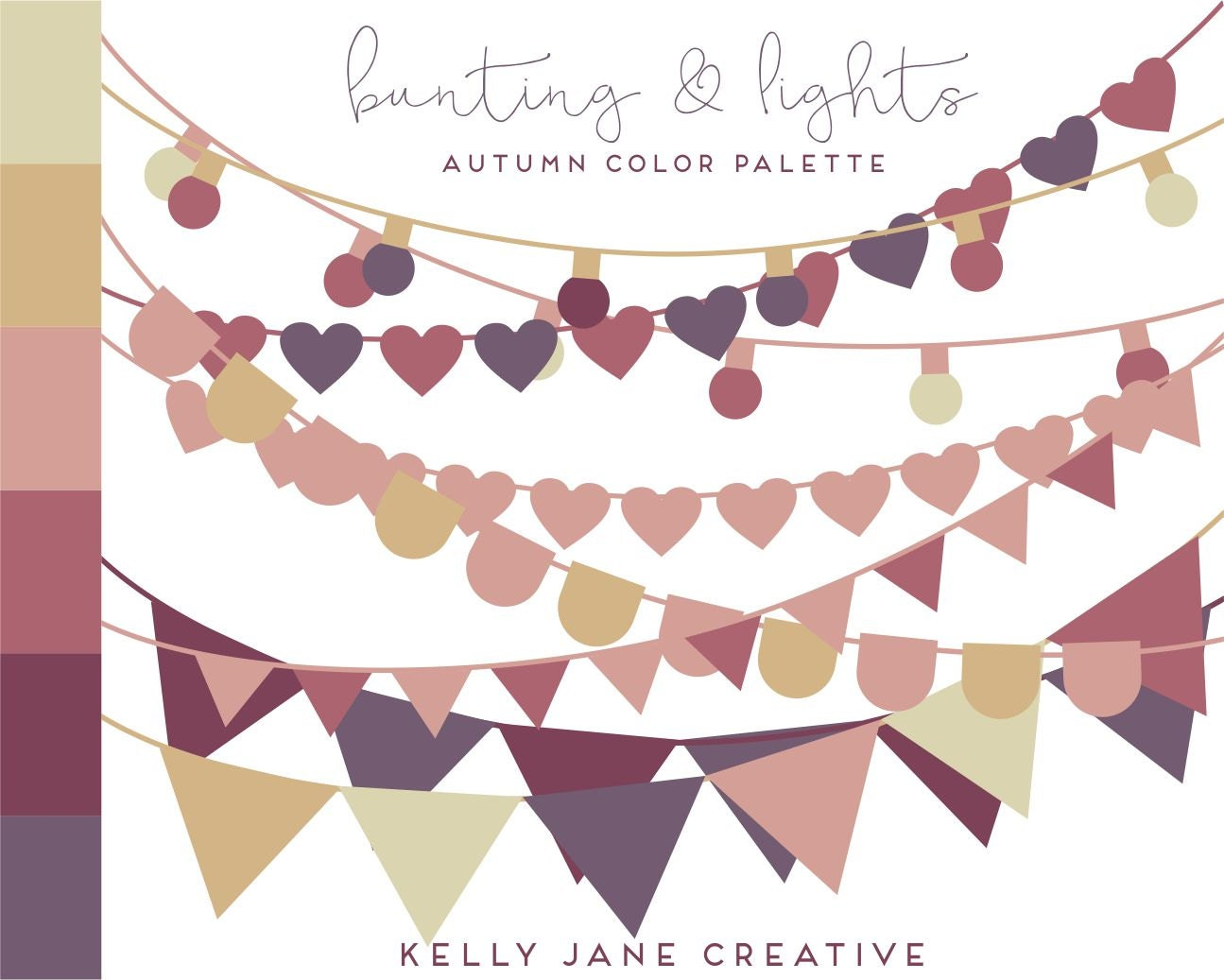 Fall Color String Lights : Bunting Clipart & String of Lights in Autumn Colors - Vector Bunting from KellyJSorenson on Etsy ...